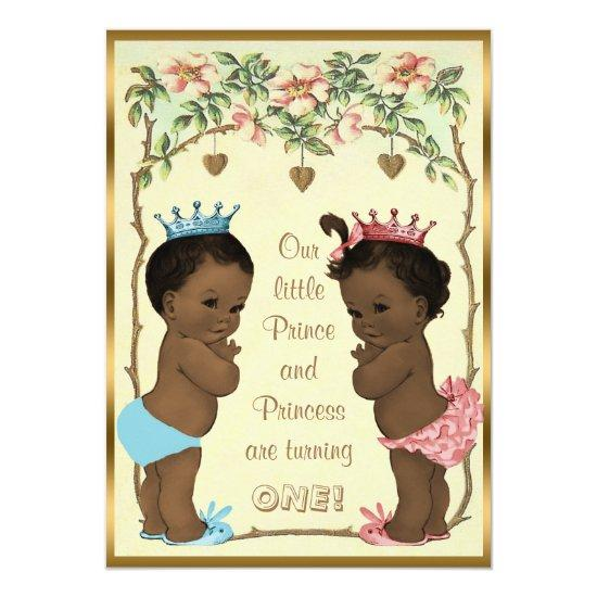 Ethnic Prince And Princess Twins Birthday Card Candied Clouds