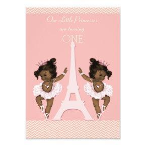 Ethnic Twins Ballerinas Eiffel Tower 1st Birthday Invitations