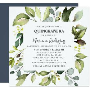 Eucalyptus & Greenery Enchanted Forest Quinceañera Invitation