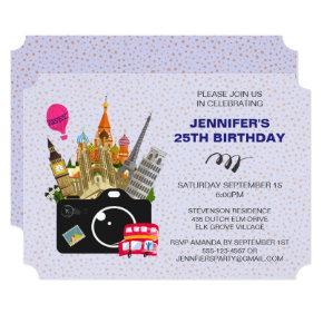 European Landmarks Taste of Europe Birthday Invitations