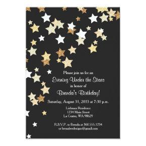 Evening Under the Stars with Gold Glitter Invitation
