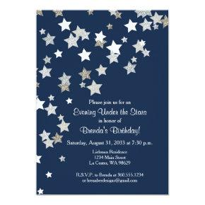 Evening Under the Stars with Silver Glitter Invitation