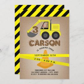 Excavator Construction Cone Kids Birthday Invitation