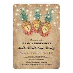 Exotic Pineapple Tropical Forty Birthday | 40th Invitations