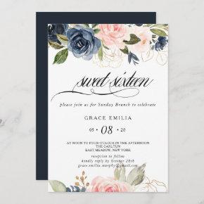 Exquisite Fall Floral Sweet Sixteen Birthday Party Invitation