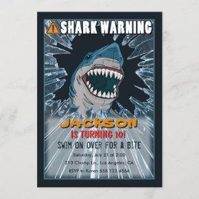 Extreme Shark Boys Birthday Party Invitation