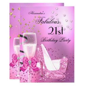 Fabulous 21st Shimmer Light Pink Heels Birthday 2 Invitation