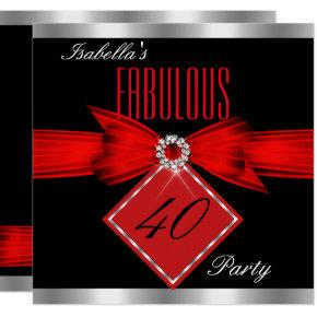 elegant red and black party birthday invitations candied clouds
