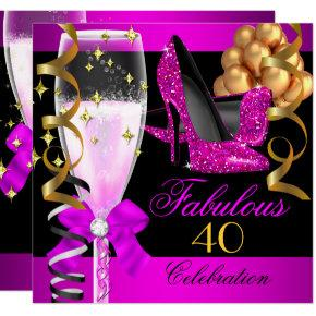 Fabulous 40th Hot Pink Black Champagne Party Invitation