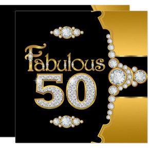 Fabulous 50 50th Birthday Gold Black Diamond 2 Invitations