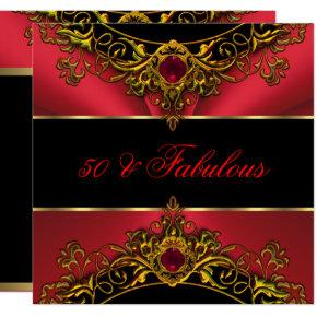 Fabulous 50 Elite Red Black Gold Birthday Invitations Candied Clouds
