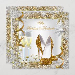 Fabulous 50 Fantastic White Gold Birthday Party Invitation