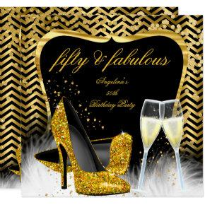 Fabulous 50 Party Black Gold Chevron Champagne Invitations