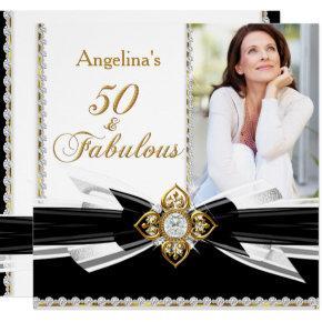 Fabulous 50 Photo Black White Gold Birthday Party Card