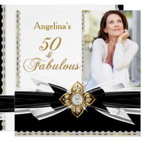 Fabulous 50 Photo Black White Gold Birthday Party Invitations