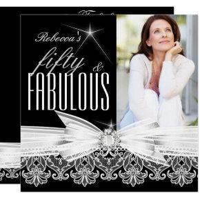 Fabulous 50 Photo Black White Lace 50th Birthday Card
