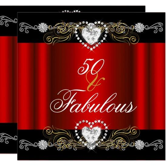 Fabulous 50 Red Black Silver Gold 50th Birthday Invitations