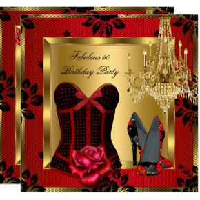 Fabulous 50 Red Heels Chandelier Rose Lace Corset Invitation