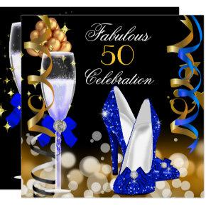Fabulous 50 Royal Blue Black Gold Birthday Party Invitations
