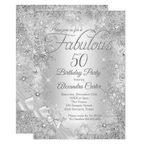 Fabulous 50 Silver White Pearl Bow Snowflake Invitation