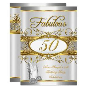 Fabulous 50th Birthday Gold Silver High Heels Invitations