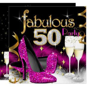 Fabulous 50th Party Glitter Hot Pink Champagne Invitations