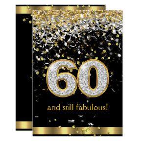 Fabulous 60 Gold Silver Streamers 60th Birthday B Invitation