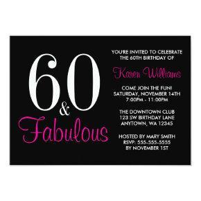 Fabulous 60th Black Pink Birthday Party Invitation