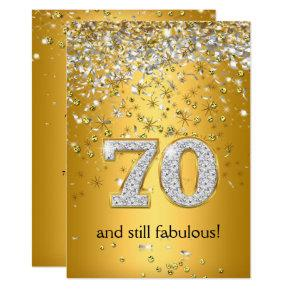 Fabulous 70 Gold Silver Streamers 70th Birthday Invitations