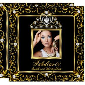 Fabulous Birthday Party Black Gold Tiara Invitations