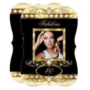 Fabulous Birthday Party Cream Pearl Gold Photo Invitations