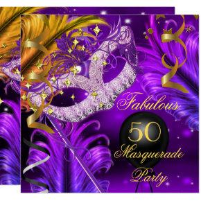 Fabulous Birthday Purple Gold Masquerade Party 2 Card