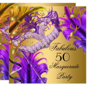 Fabulous Birthday Purple Gold Masquerade Party 3 Card