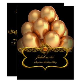 Fabulous Black Gold Balloons Birthday Party Invitations
