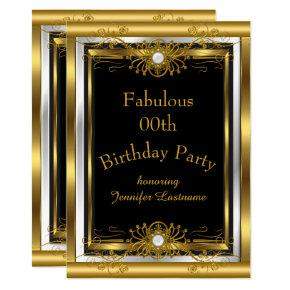 Fabulous Gold Black Birthday Party Invitations