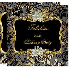Fabulous Gold Black Gray Pearl Damask Party Invitations