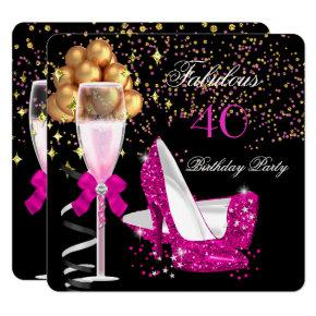Fabulous Hot Pink Heels Gold Black Birthday Party Invitation