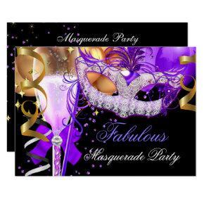 Fabulous Purple Gold Black Masquerade Party 3 Invitation
