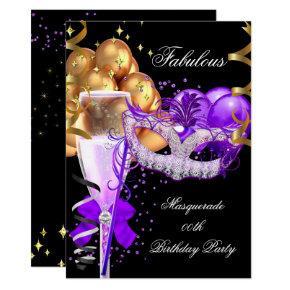Fabulous Purple Gold Black Masquerade Party 4 Invitation