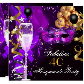 Fabulous Purple Gold Black Masquerade Party Invitations
