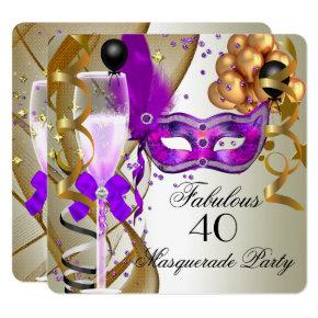 Fabulous Purple Gold Cream Black Masquerade Party Card