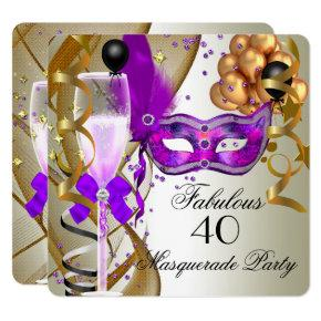 Fabulous Purple Gold Cream Black Masquerade Party Invitations