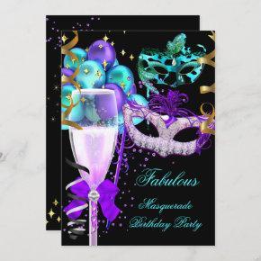Fabulous Purple Teal Black Masquerade Party Invitation