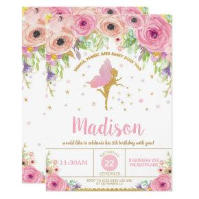 Fairy Birthday Invitation Pink Floral Fairy Party