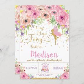 Fairy Birthday  Pink Floral Whimsical