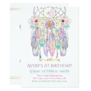 Fairy Dream Catcher Boho Feathers Arrows Invitations