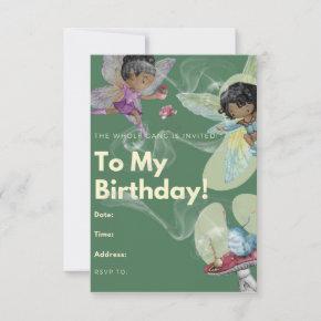 Fairy Gang Party Blank Birthday Invitation