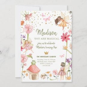 Fairy Magical Forest Garden Girl First Birthday Invitation