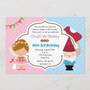 Fairy Princess & Gnome Woodlands Party Invitation