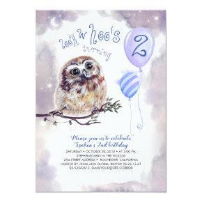 Fairy Tale Night and Little Owl Boys Birthday Invitation